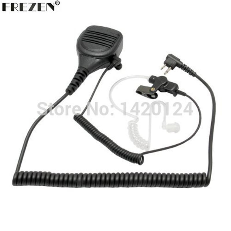 imágenes para Altavoz Mic Micrófono Para Motorola Walkie Talkie Radios GP300 P110 P1225 CP200 PR400 EP450 XLS GTX con Cable en Espiral de Vigilancia