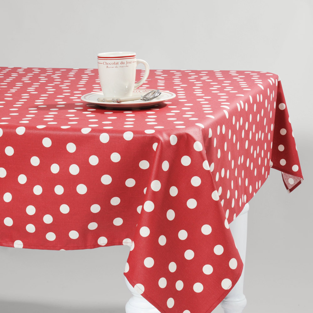 Red Polka Dot Christmas Tablecloth Waterproof Oil Table