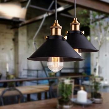 Hitam Vintage Industrial Pendant Light Nordic Retro Lampu Besi Kap Lampu Loft Edison Lampu Kandang Logam Ruang Makan Pedesaan