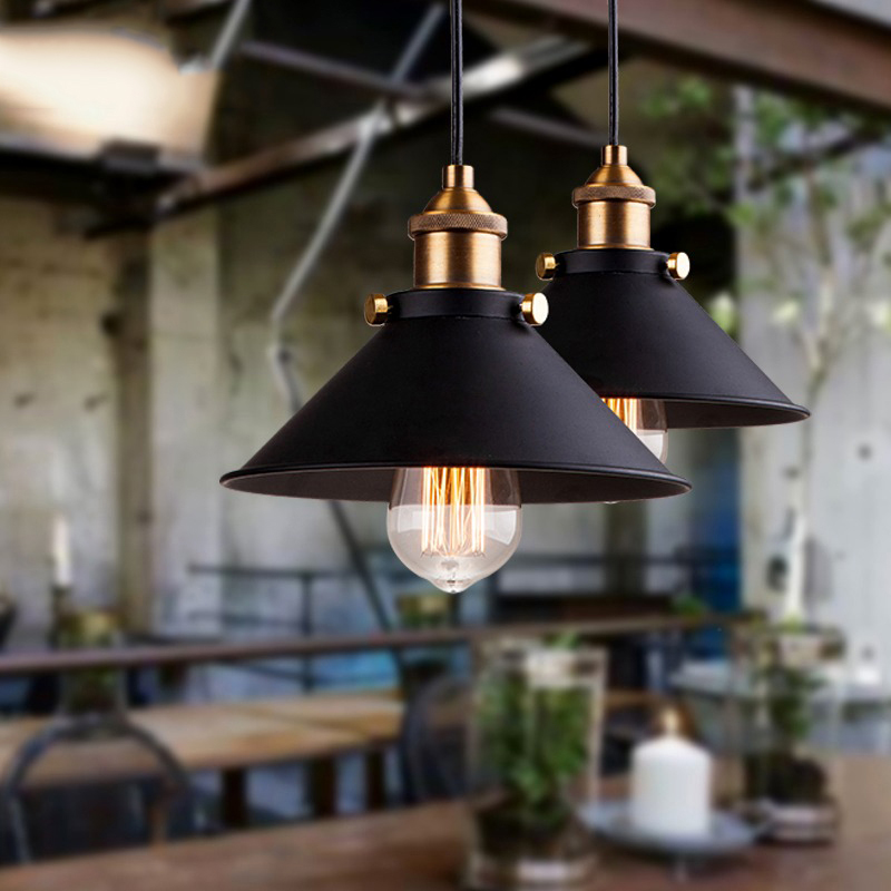 Black Vintage Industrial Pendant Light Nordic Retro Lights Iron Lampshade Loft Edison Lamp Metal Cage Dining Room Countryside