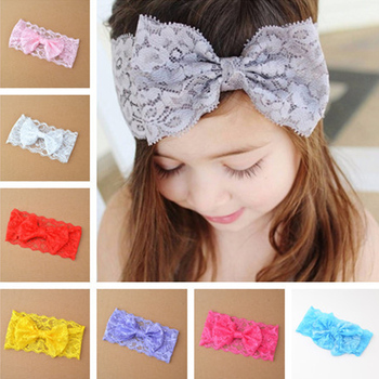 1Pc Lovely Baby Lace Bowknot Headband Baby Girls Hair Bow Knot Head Band Infant Bows Headwear Hairband Headwrap Floral Headbands 5pcs head wrap baby headbands headwear girls bow knot hairband head band infant newborn toddlers gift tiara hair accessories