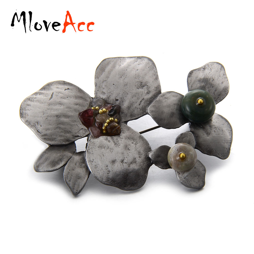 MloveAcc Vintage Antique Color Metal Broch Ékszerek Stone Bouquet Brossok Női biztonsági Leaves Pins Ruházat Kiegészítők
