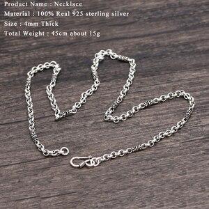 Image 5 - 4mm bambusowy naszyjnik 100% 925 srebrny łańcuszek modny naszyjnik mężczyzn biżuterii GN20