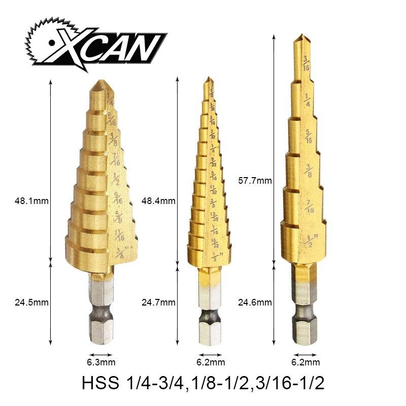 Xcan 3/16-1/2, 1/4-3/4, 1/8-1/2 Pagode Broca HSS Titânio revestido aço de alta velocidade Ferramentas elétricas mini broca bits micro broca