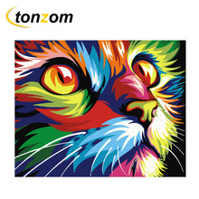 RIHE Colorful Cat Diy Painting By Numbers Animal Oil On Canvas Cuadros Decoracion Acrylic Wall Art Home Decor Gift