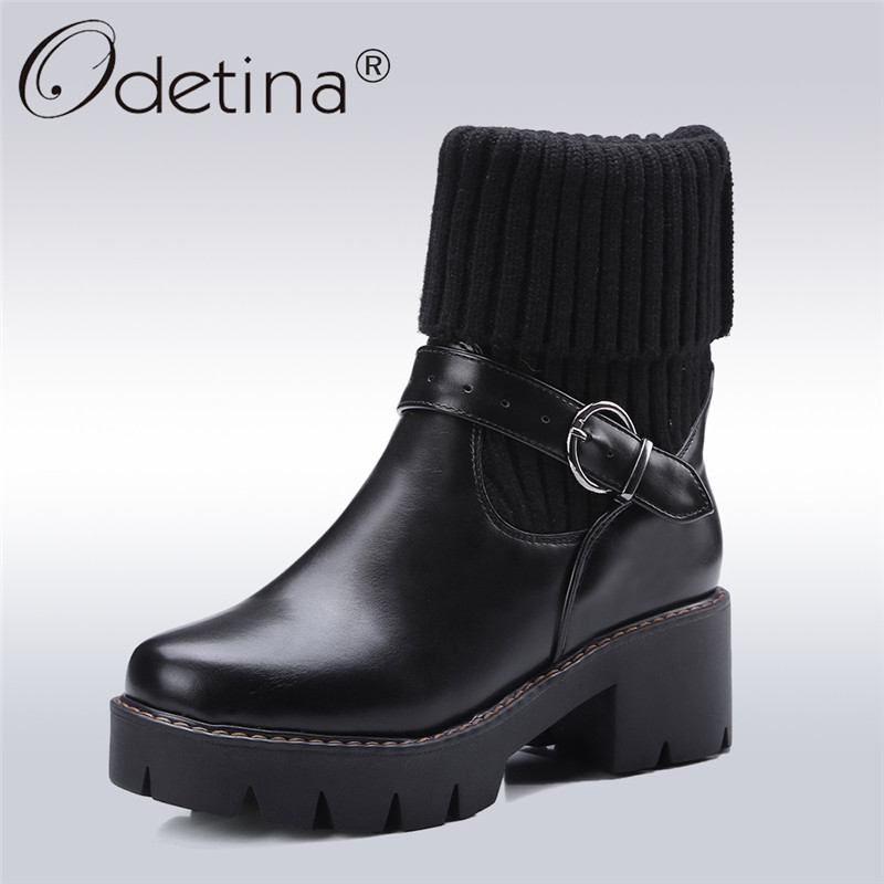 Odetina 2017 New Fashion Buckle Strap Ankle Boots Women's Winter Shoes Silp On Round Toe Platform Thick Heel Boots Big Size 43 odetina 2017 new summer ankle strap ballet flats buckle women mary jane shoes round toe casual flat shoes sweet big size 34 43