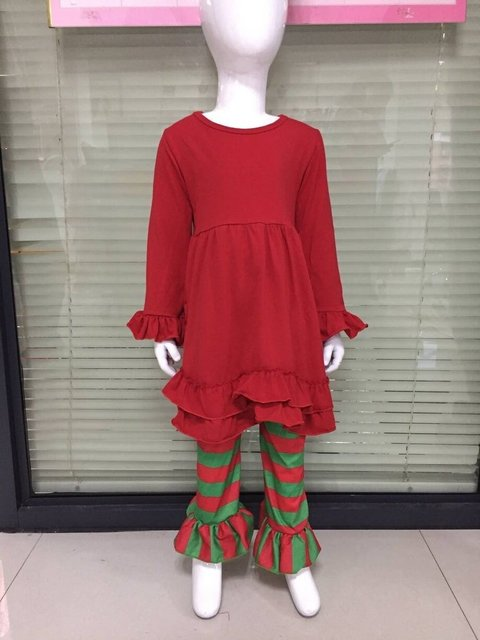 christmas holiday girls fall outfits kid boutique outfits red toddler dress green striped ruffle pants boutique