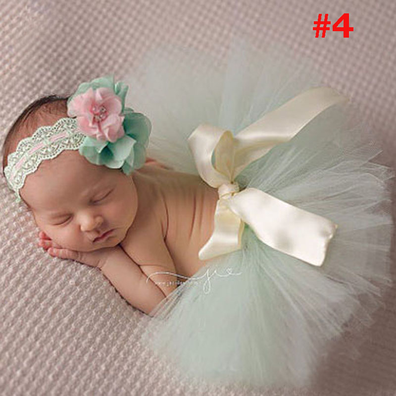 Infant Baby Girl Tutu Skirt Dress Headband Photo Photography Prop Costume Outfit