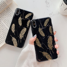 Marble Phone Case For iPhone 7 8 6 6S Plus Back Cover Coque X XR XS MAX Soft TPU Cases Silicone Gold Feather Pattern