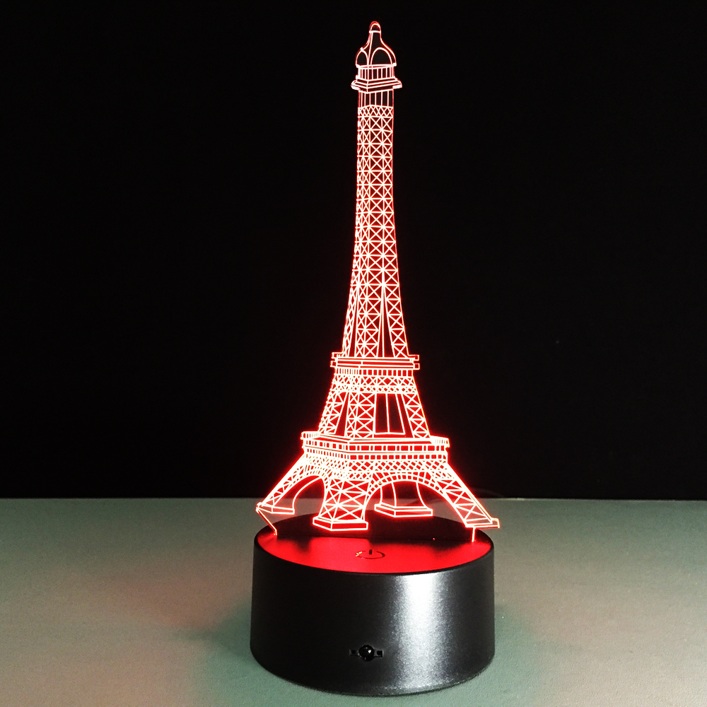 La Tour Eiffel Romantic Lighting 3D Eiffel Tower LED USB Kids Night Light Beautiful Color Changing