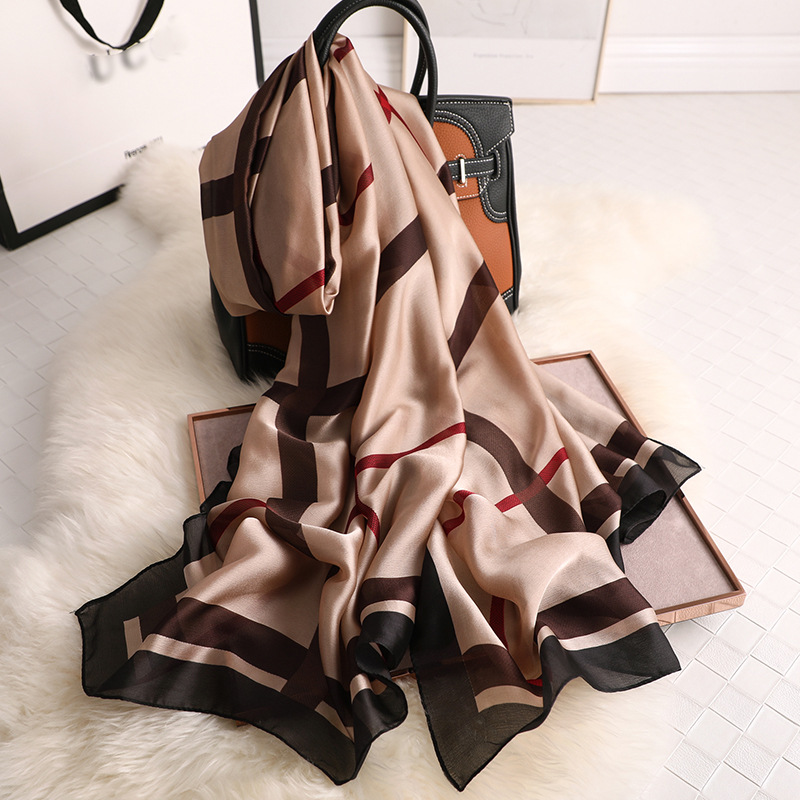 Women Silk   Scarf   Euro Plaid Long Head   Scarves     Wraps   Luxury Brand Quality Female Foulard Satin Shawls Hijab 90*180cm Wholesale