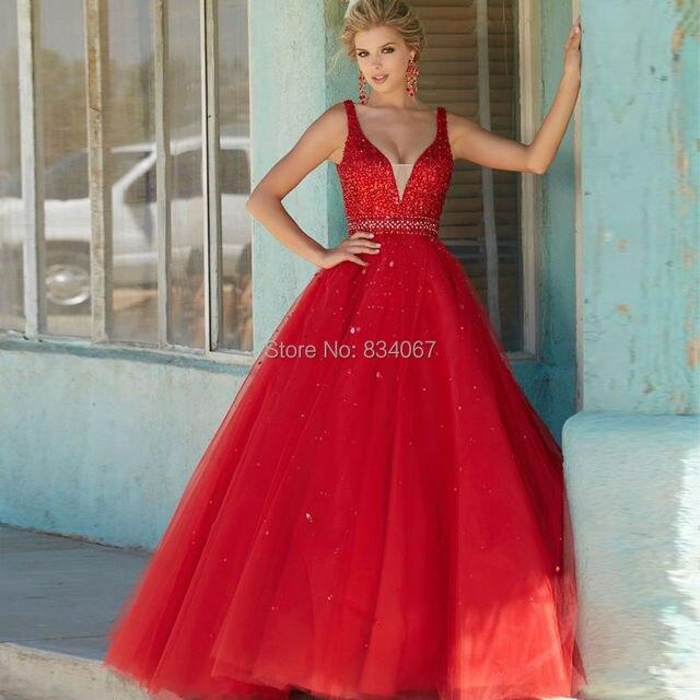 Red Rhinestone Prom Dresses