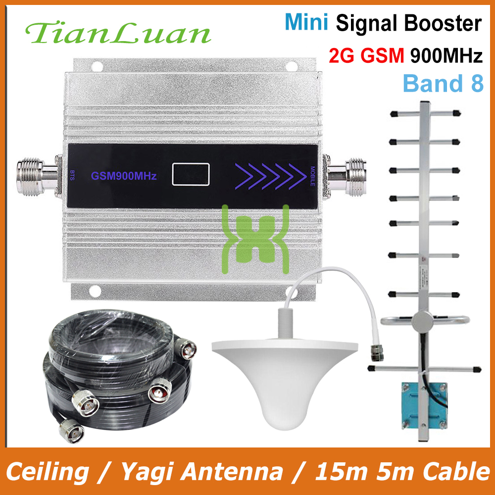 TianLuan 2G GSM 900MHz Mobile Phone Signal Booster GSM 900 MHz Repeater Amplifier With Ceiling / Yagi Antenna / 15m 5m Cable