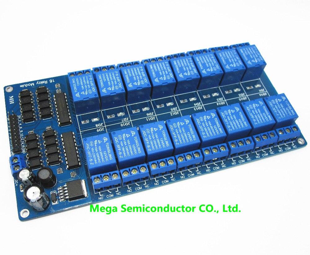 12 V 16 Canal Módulo de Relé Interface Board Para Arduino PIC ARM DSP PLC  Com Proteção Optoacoplador Poder LM2576 16 canal