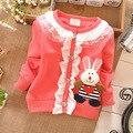 Ropa para bebé conejo de encaje de algodón volantes escudo primavera, ropa del otoño del bebé desgaste chaquetas de la rebeca S0592