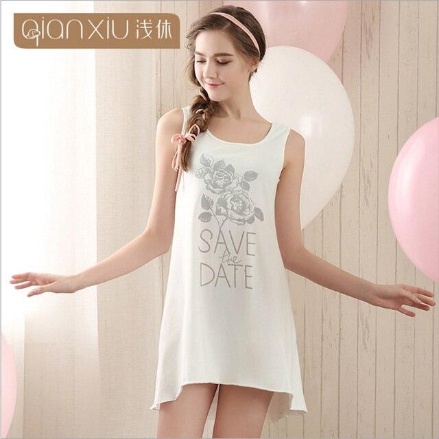 Qianxiu Cotton Nightgown For Women Knee-length Sleepshirts Summer Sleeveless Sleepwear