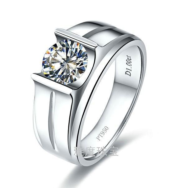 Free Shipping 1 carat synthetic SONA stone Engagement rings for men sterling silver ring Men s