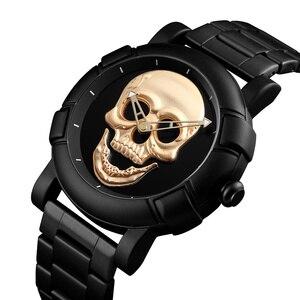 Image 5 - Steampunk duża tarcza zegarek z czaszką mężczyźni 3D szkielet grawerowane złoty czarny dla człowieka moda Punk Rock Dial zegar prezent relogio masculino