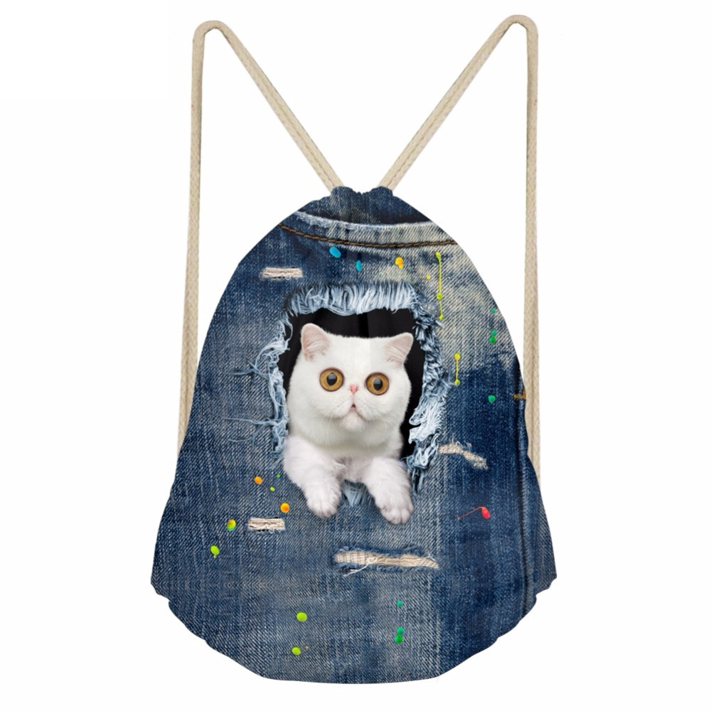Funny 3D White Pocket Denim Cats Printed Girls Boys Drawstrings Bags Softback Storage Backpacks Children SchoolbagsSumka