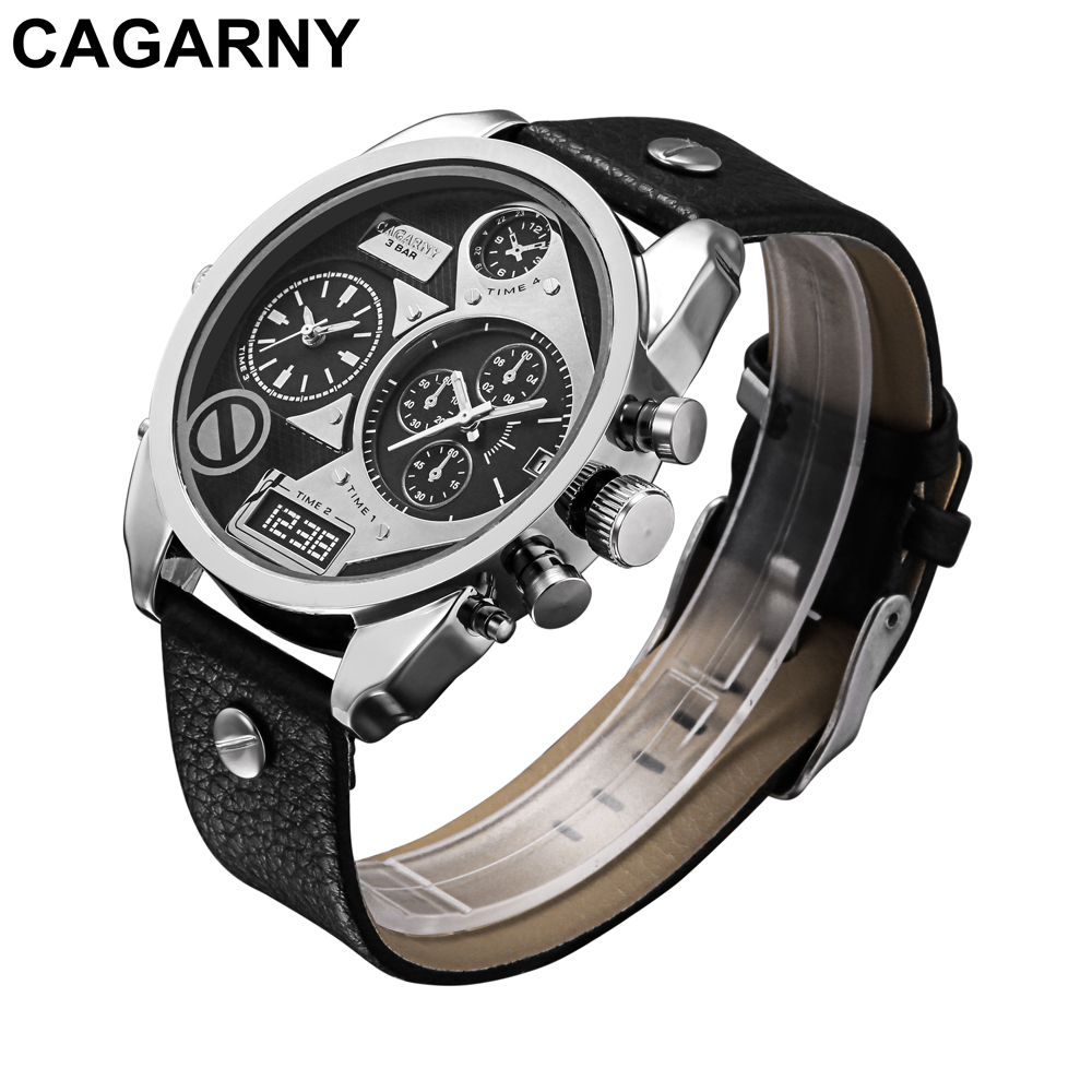 mens military watches army dual times large dial quartz watch for brave men male clock free shipping (2)