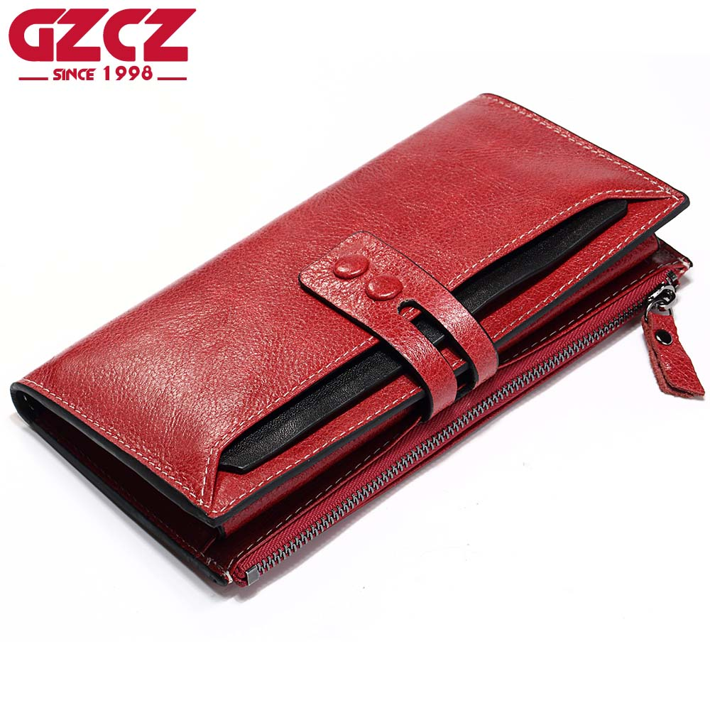 GZCZ Genuine Leather Wallet Female Zipper Red Clamp For Money Bag Luxury Brand Long Walet Womens Purses Card Holder Portomonee