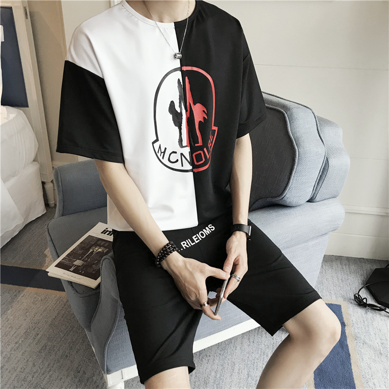 Soup Dream Mens Summer 2018 New Mens Short-sleeved Korean Trend Mixed Colors Loose Gloria+jeans Hoodies.