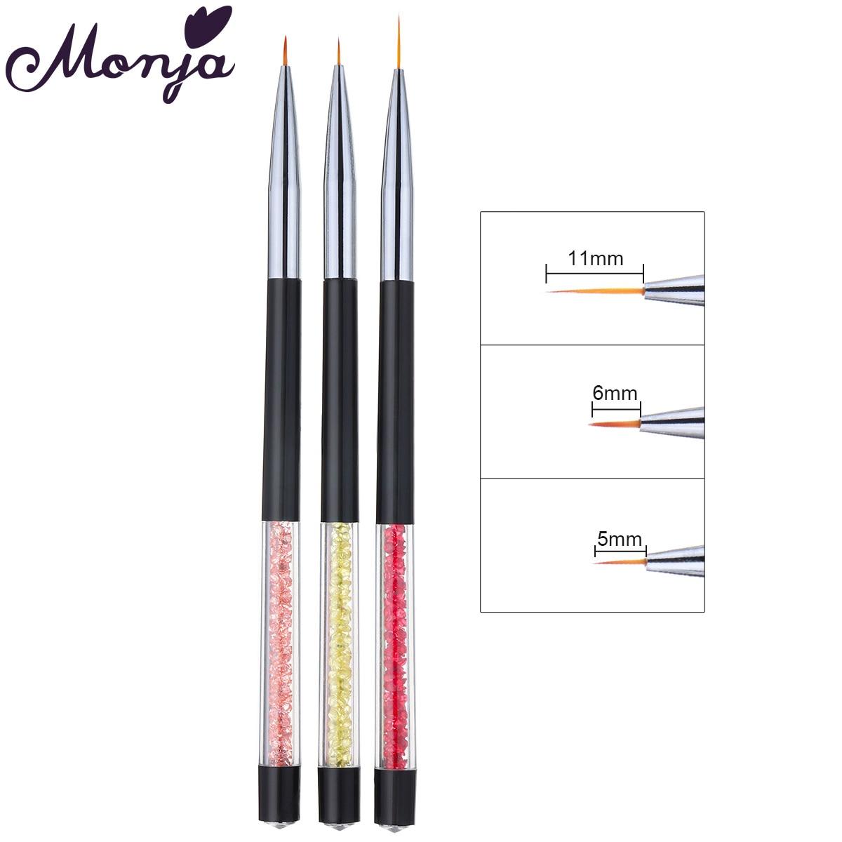 Monja 3Pcs/Set Nail Art Rhinestone Handle French Lines Stripes Liner Painting Brush Pattern Design DIY Drawing Pen Manicure Tool