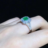 Qi Xuan_Vintage Square Green Ring Female S925 Silver Plated White Gold Inlaid Foreign Imported Green Ring Banquet