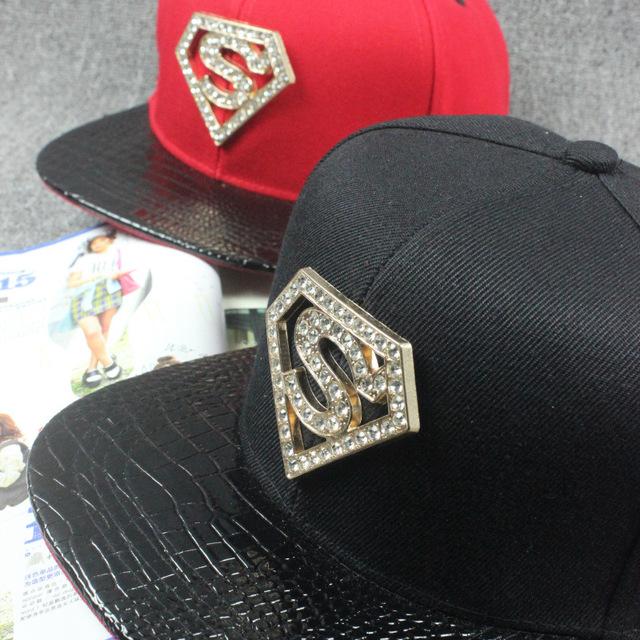 Coreano Rhinestone Superman letra Metal Logo PU borda plana chapéu de basebol Hip esperança Unisex algodão de dança de rua Snapcback Cap chapéu