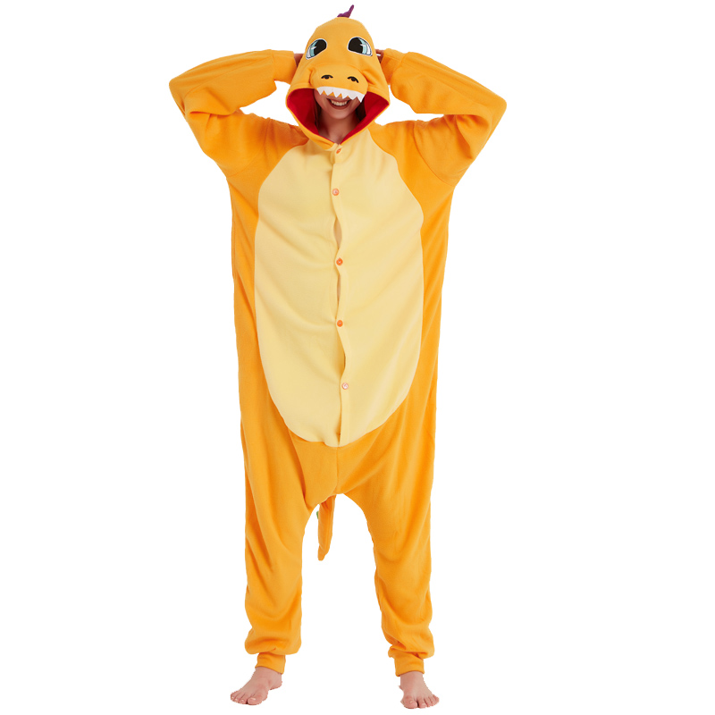 Pokemon Charizard Onesie Adult Women Men Pajamas Cartoon Animal Charmander Dragon Costume Party Winter Warm Cute Pyjama Sleep (4)