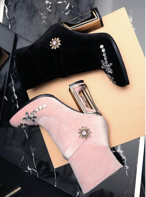 27c1f581bcf7 Aliexpress.com   Buy vogue woman diamond flower metal cage high heel velvet  ankle boots pink black colors in stock from Reliable ankle boots suppliers  on ...