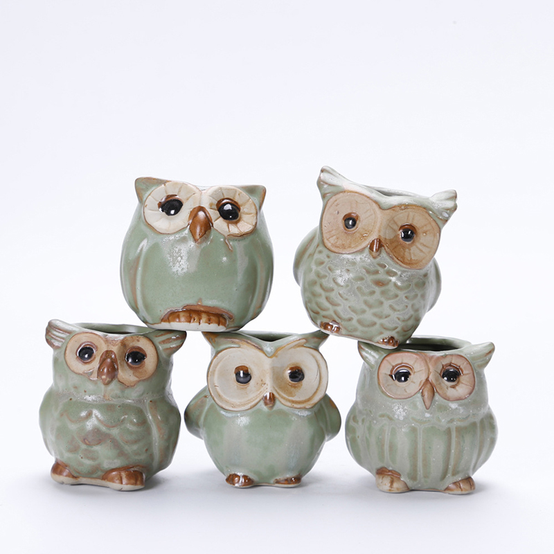 5pcs//lot Mini Ceramic Plant Pot Owl Flower Planter Container Garden Home Decor
