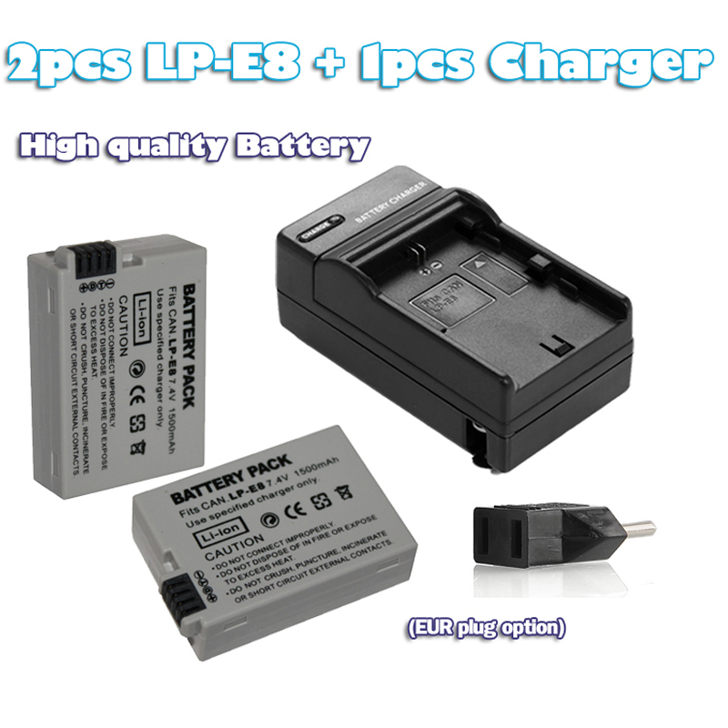 2 pcs LP E8 For <font><b>Canon</b></font> <font><b>EOS</b></font> <font><b>550D</b></font> 600D 700D <font><b>accessory</b></font> 7.4v 1500mAh LP-E8 digital battery Li-ion LP E8 LPE8 Camera Battery+charge image