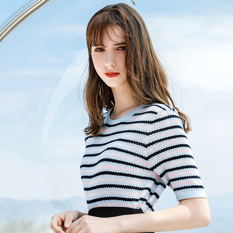 AcFirst Summer Women Tops Casual Blue T shirts Knitting Shirt O Neck Short Striped Plus Size T Shirt Women Cotton Sexy Tees in T Shirts from Women 39 s Clothing