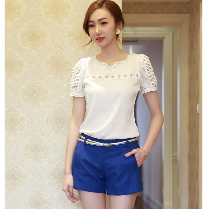 Blouse Women Lady Lace Short Sleeve White Chiffon Lace Shirt V Neck Doll Chiffon Blouse Tops Camisa Social Feminina #1