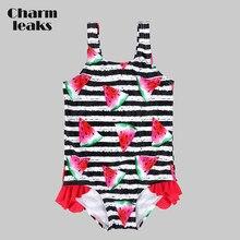 9a2acf7535a1c Charmleaks Baby Mädchen Ein Stück Badeanzüge Streifen Drucken Bademode  Kinder Rüschen Nette Bikini Strand Tragen