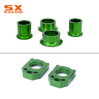 Green Front Rear Wheel Hub Spracers & Rear Chain Adjuster Axle Block For KAWASAKI KX125 KX250 06 07 08 KX250F KX450F 2006 2014
