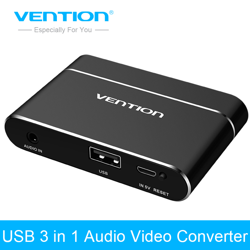 Vention USB 3 in 1 Adapter USB to HDMI VGA Audio Video Converter HD Digital AV Adapter For iPhone HDMI VGA AV Converter For iPad 2 in 1 1080p mini hdmi hdmi to vga 3 5mm av adapter w cables white