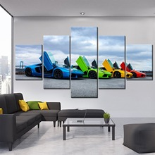 HD Prints Type Home Decoration 5 Pieces Landscape Colorful Supercar Canvas Painting Wall Art Modular Pictures Modern Unique Gift