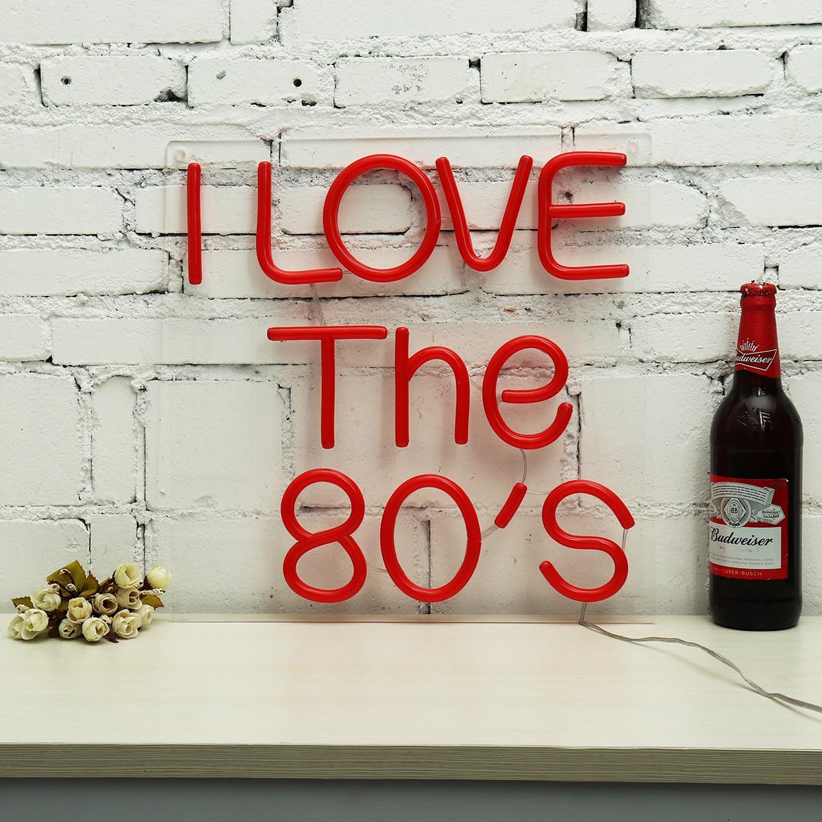 I Love The 80'S Neon Sign LED Lighting Tube Night Lamp Handmade Visual Artwork Bar Club Wall Light Decoration Red 40x40cm