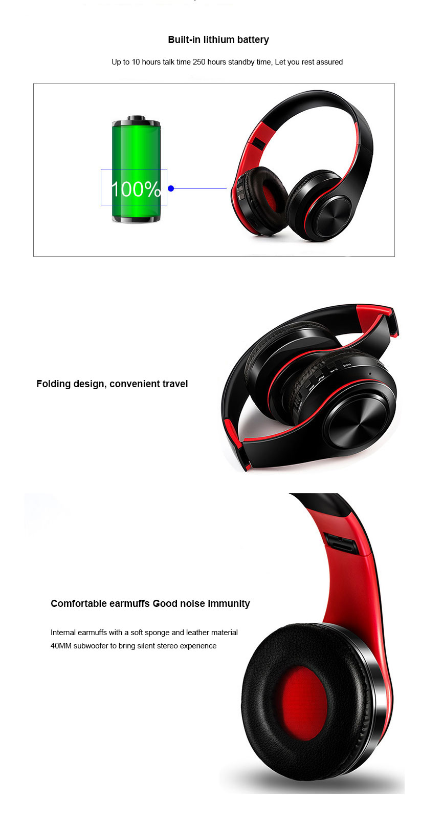 Wireless Earphones Stereo Wireless Bluetooth Headset Portable Cordless Headphone support FM Radio TF Card with MIC for Phone (3)