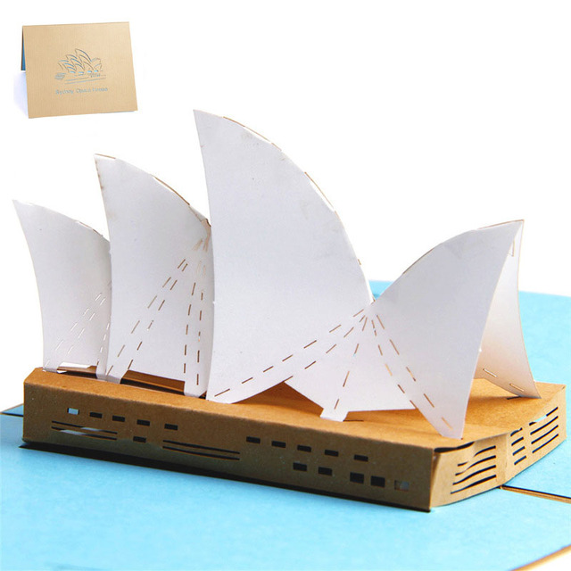 3d high quality handmade sydney opera house paper invitation 3d high quality handmade sydney opera house paper invitation greeting cards with envelope business tourism kids colourmoves