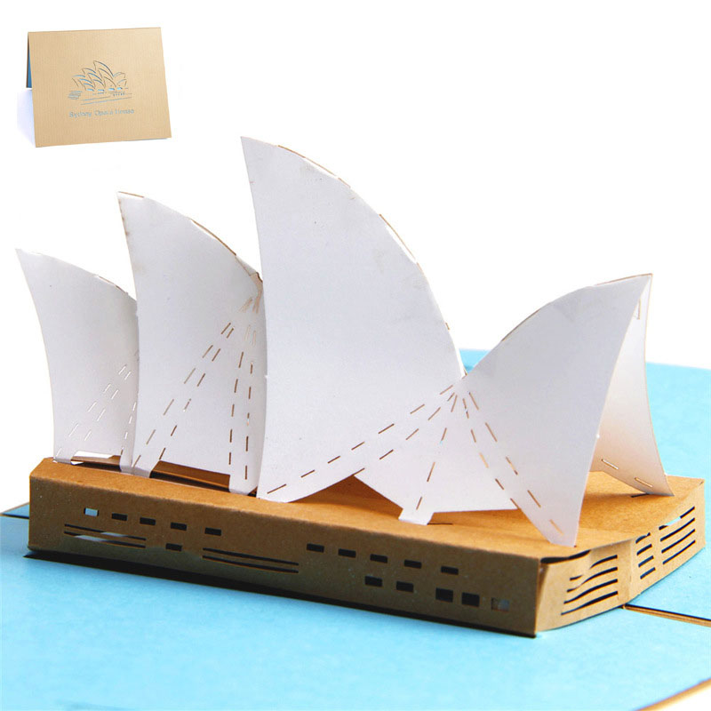 3D High Quality Handmade Sydney Opera House Paper Invitation Greeting Cards with Envelope Business Tourism Kids Creative Gift