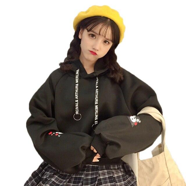 BTS Women Kumamon Pullover Bangtan Blackpink Sweatshirt Winter Fleece Thick Hoodie Kawaii Harajuku Style Hoodies sudaderas mujer