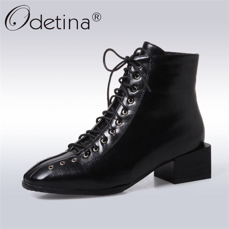 Odetina 2017 New Fashion Chunky Heel Lace Up Ankle Boots Low Heel Square Toe Women Casual Shoes Autumn Winter Short Plush Boots 2017 fashion new red horsehair women ankle boots square high heel short booties autumn zip up martin botines mujer women pumps