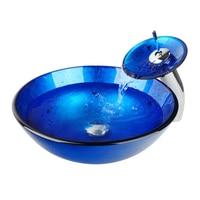 Bathroom Sink Washbasin Hand Painted Glass Sink Waterfall Chrome Soild Brass Tap 4007 1 Vessel Vanity