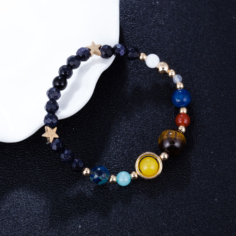 Universe Galaxy the Eight Planets in the Solar System Guardian Star Natural Stone Beads Bracelet for Women & Men Couple Bangle