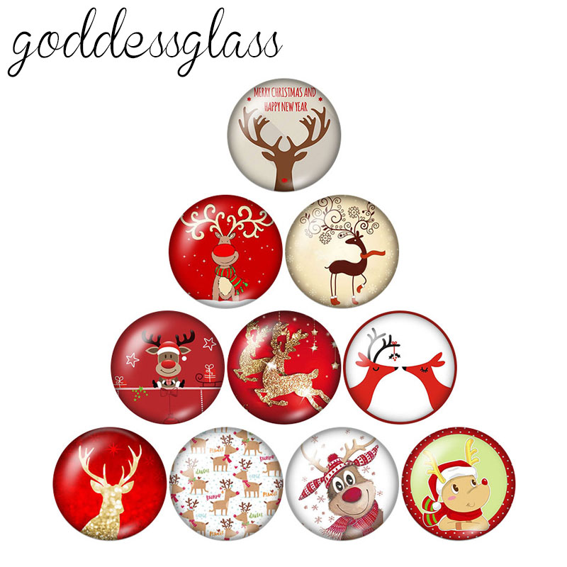 New Christmas Elk Reindeer 10pcs Mixed 12mm/18mm/20mm/25mm Round Photo Glass Cabochon Demo Flat Back Making Findings ZB0586