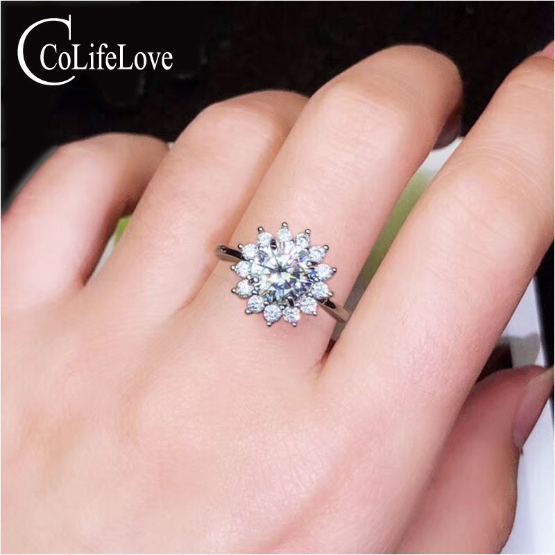 CoLife Jewelry Moissanite Ring for Engagement 1ct to 3ct D Color VVS1 Grade Moissanite Silver Ring