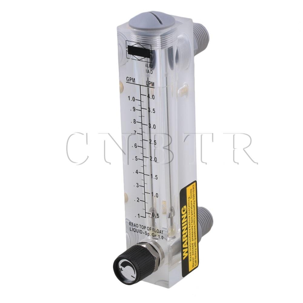 CNBTR 17 x 3.2cm LZM-15T 0.1-1GPM/0.5-4LPM Panel Type Flow Meter Flowmeter for Water Liquid Measurement With Adjustable Knob lzm 6t 10 100lpm 20 200scfh panel type acrylic flowmeter flow meter with adjust valve bass fitting female